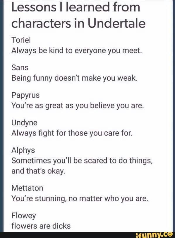 What different undertale characters have taught me. Comic promt. lessons I'v