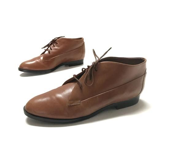vtg 90s low ankle boots Easy Spirit caramel brown shoes