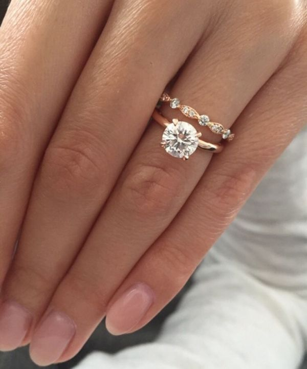 Rose gold solitaire engagement ring with Art Deco wedding band ♥ by Gabriel ...
