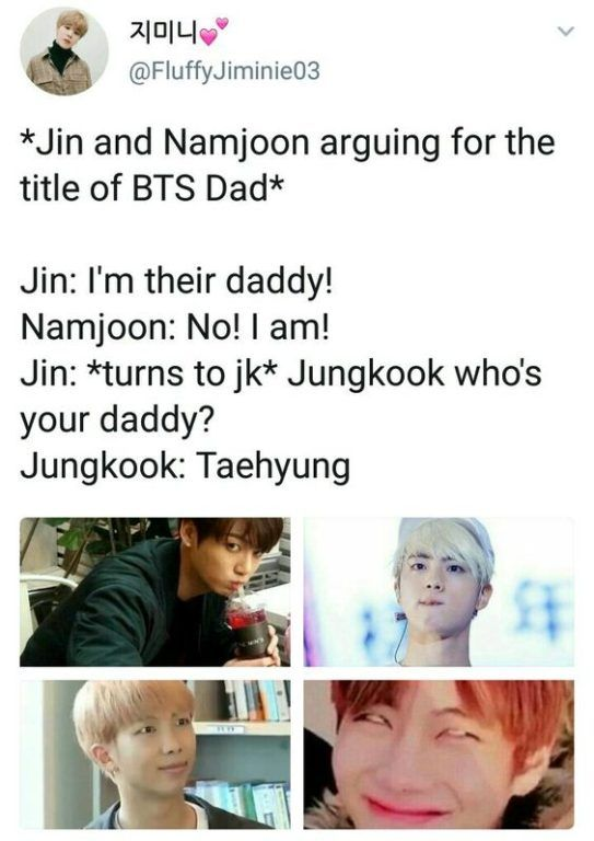 JIN: I'm his father! RM: It's not me! JIN: Jungkook who is your father? JG: Taehyung ...
