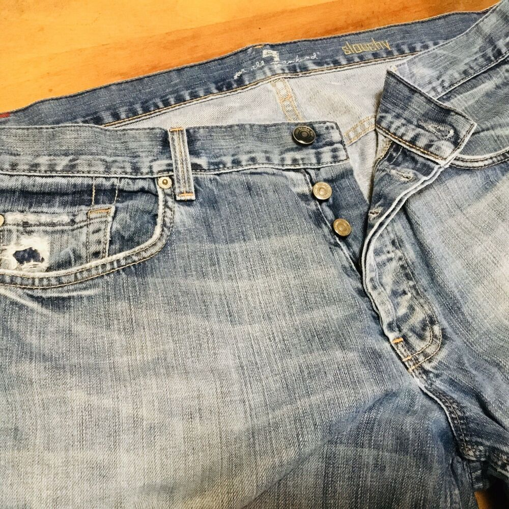 7 For All Mankind Slouchy Button Fly Distressed Jeans Men's Size 36 Made in USA ...