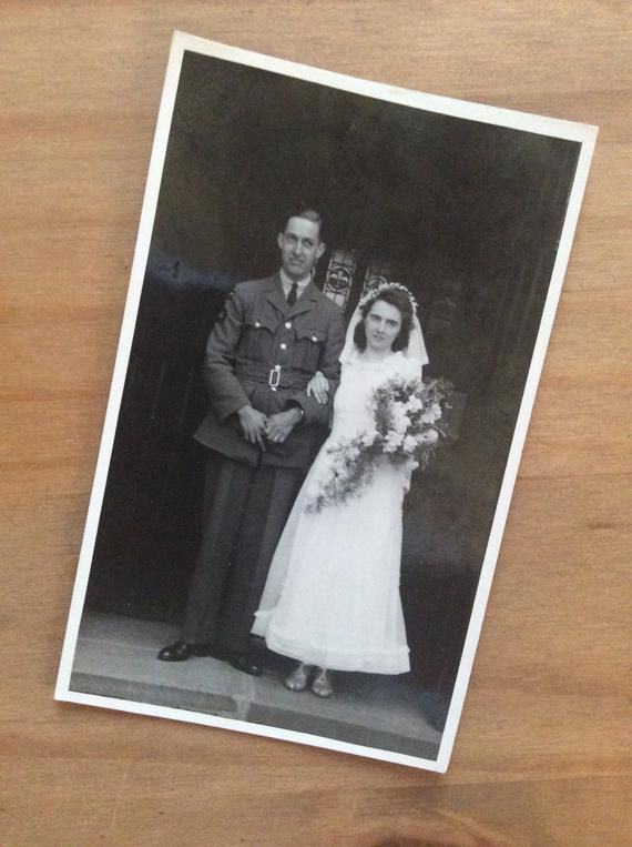 1940s Wedding Photo - 1942 WW2 - RAF Military Groom - Sweetheart Couple - 1940s Fashion - War Wedding