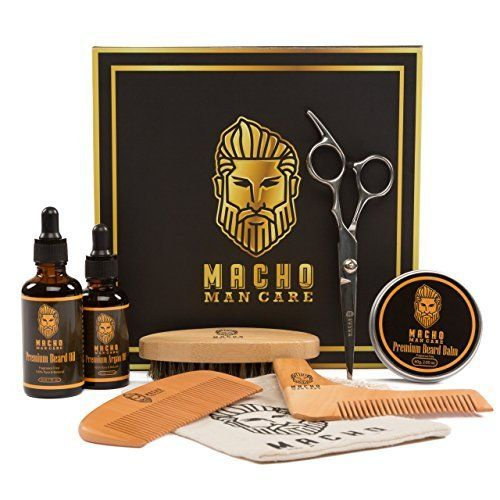 Premium Beard Grooming Kit - Beard Oil For Men, Beard Brush, Beard Comb, Beard Balm, Mustache Barber Scissors, Shaper Tool, Argan Oil, Best Mens Trimming Growth Beard Care Gift Set (Ultimate 8 Tools)