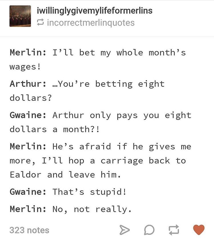 merthur, dunno why it'd dollars but the rest sounds right