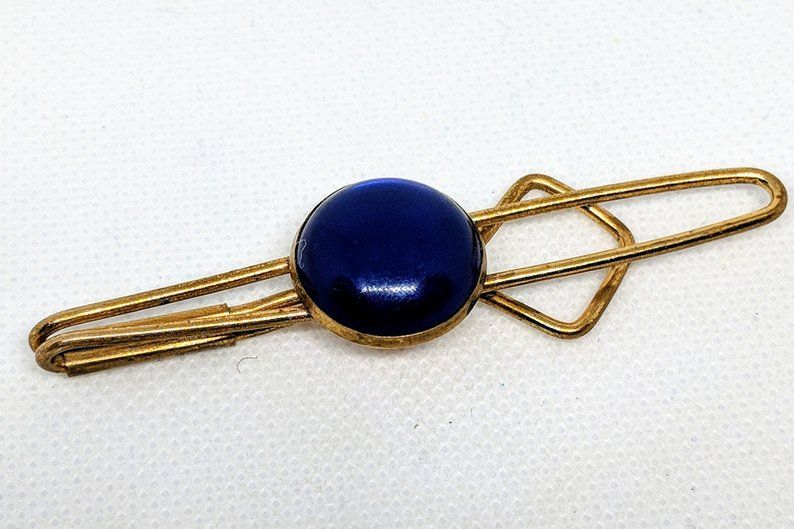 1940s Vintage Tie Bar with Cobalt Blue Lucite Round Cabochon Slide Tie Clasp/ Clip Gift for Him Groom, Boyfriend, Husband, Son, Father