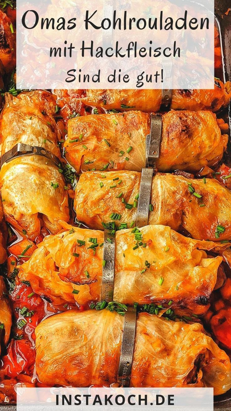 At Granny's delicious stuffed cabbage rolls with minced meat stuffing out of the oven ...