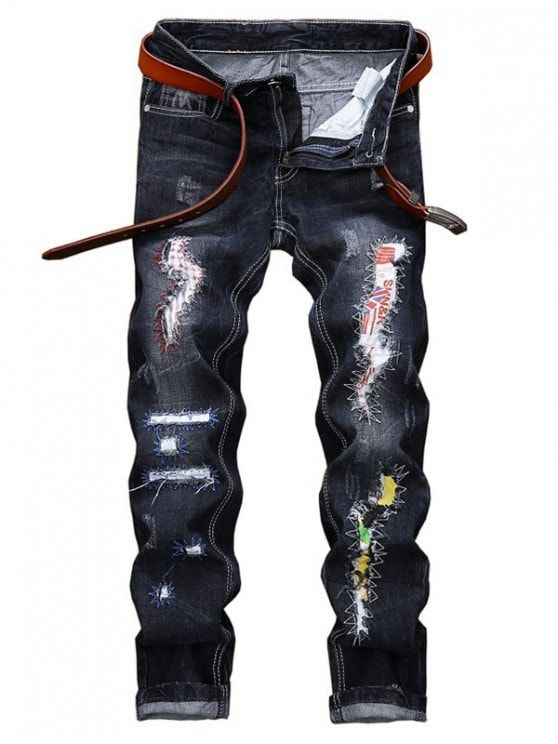 Long Straight Scratch Patchwork Ripped Jeans   BLACK