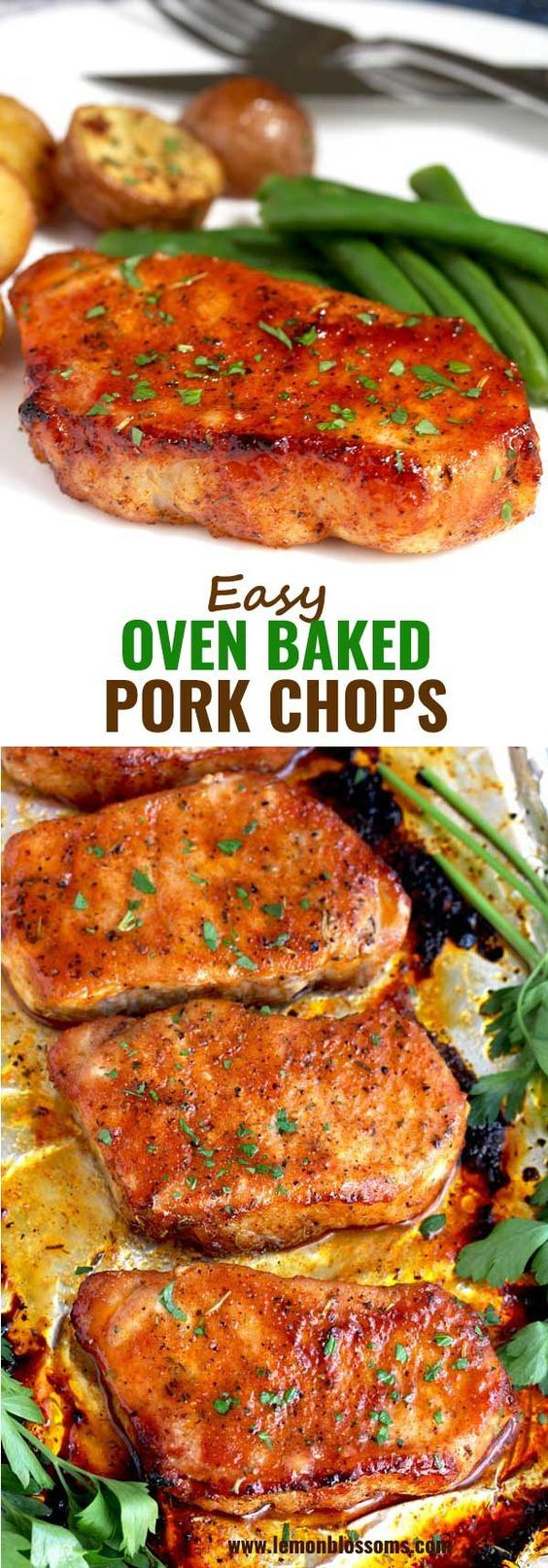 These Oven Baked Pork Chops are seasoned with simple spices and then baked to pe...