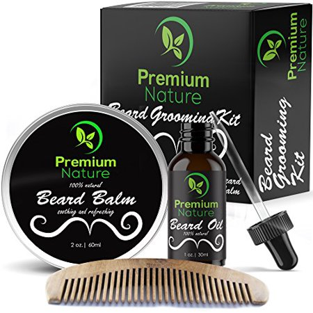 Beard Grooming Kit Gift for Him - for Mustache & Beard Growth - Soften Soothe & Moisturize Skin & Hair - Castor Jojoba Almond & More Essential Oils - Premium Nature - Walmart.com