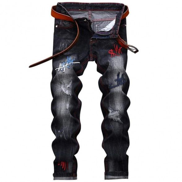 Straight Leg Embroidery Distressed Jeans #men'sjeans #men's #jeans #rotos