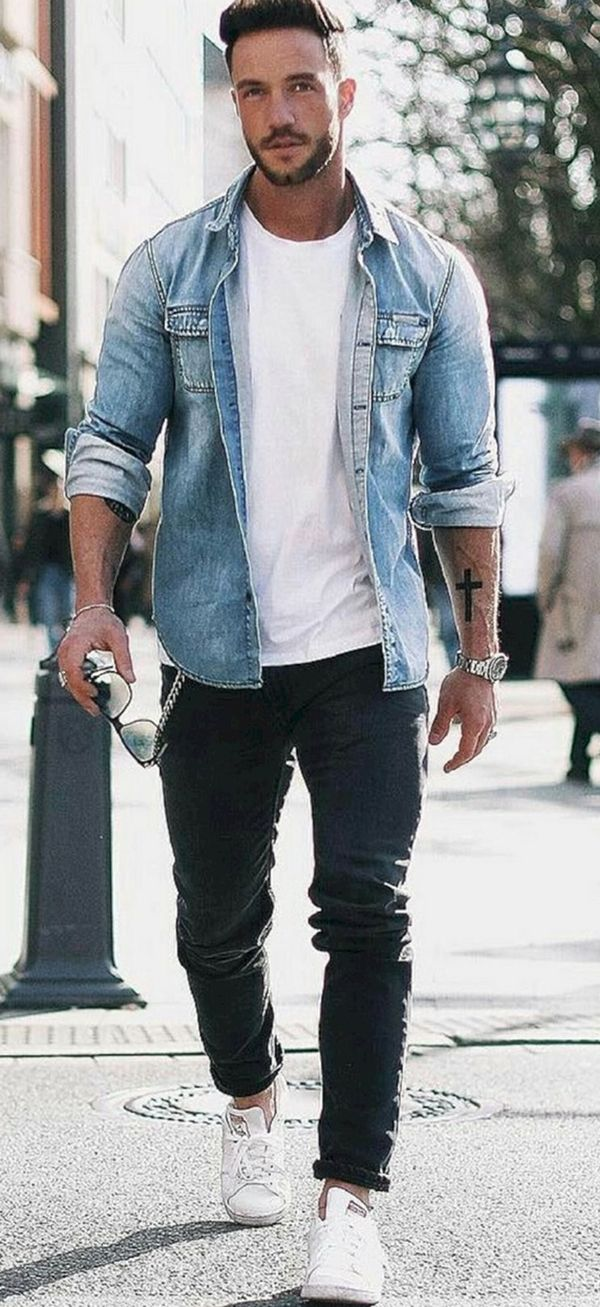 40 (Men's Weapon) Denim Shirts Outfits for Men