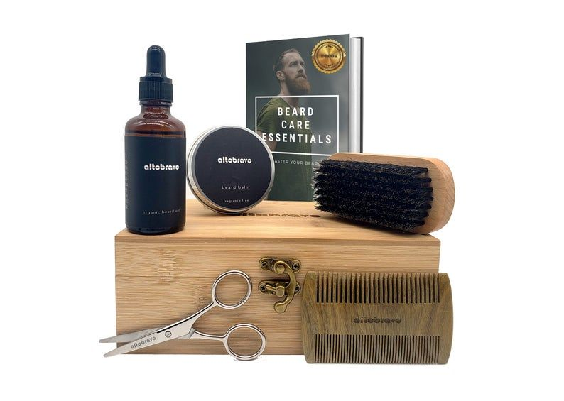 Beard Grooming Kit | Beard Balm, Beard Oil, Beard Brush, Beard Comb | Gift for Boyfriend | Gift for Men