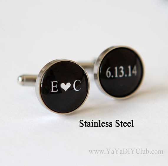 Personalized Cuff links Weddings Cufflinks Custom Wedding Date Initials Color, Groom Gift, Anniversa