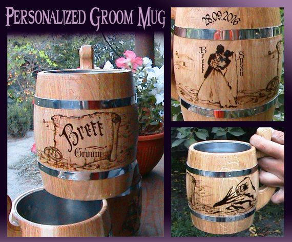 Personalized Groom Beer Mug/Wedding Gift For Groom From Bride/Groom Gift/Grooms Gift/Groom Gifts/For Groom/Wood Beer Mug/Unique Wedding Gift