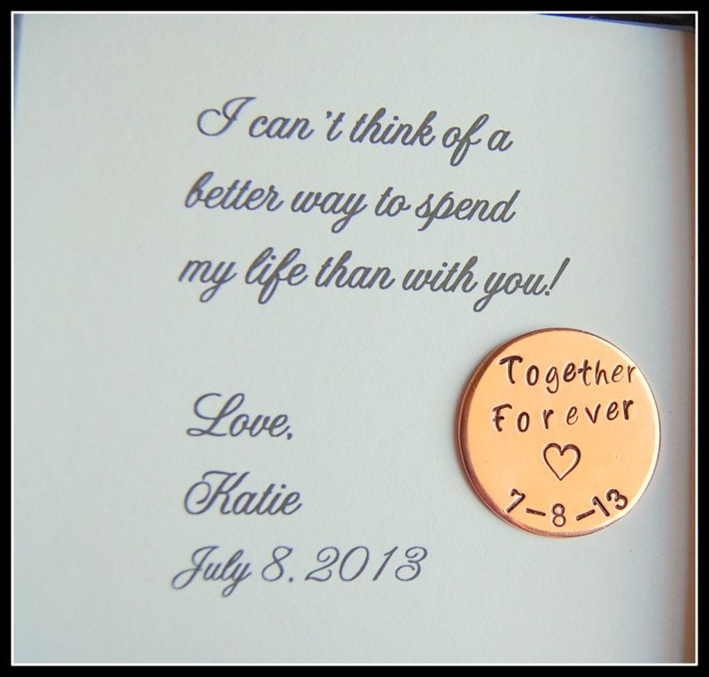 Grooms Gift from Bride, Love Notes Coin, Together Forever, Personalized gift for groom on wedding day, Bride to GROOM gift