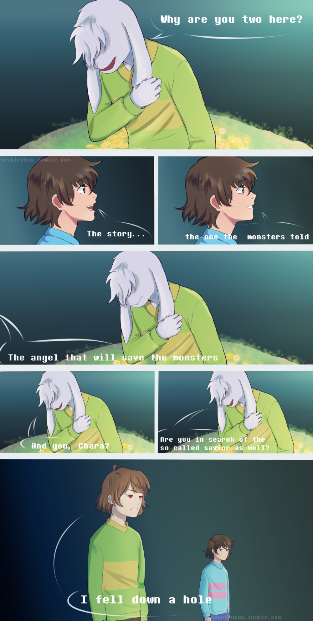 Undertale comic: Why Chara and Frisk came here by atomicheartlight on DeviantArt
