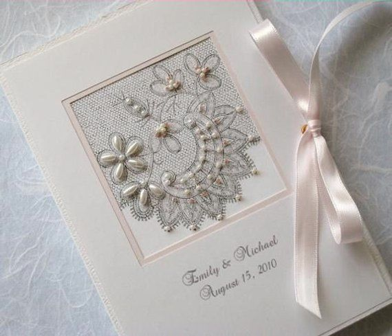 Personalized Wedding Photo Album Mother of the Bride and Groom Gift, Bridal Shower, Beaded Lace Design 5x7, 6x7.5