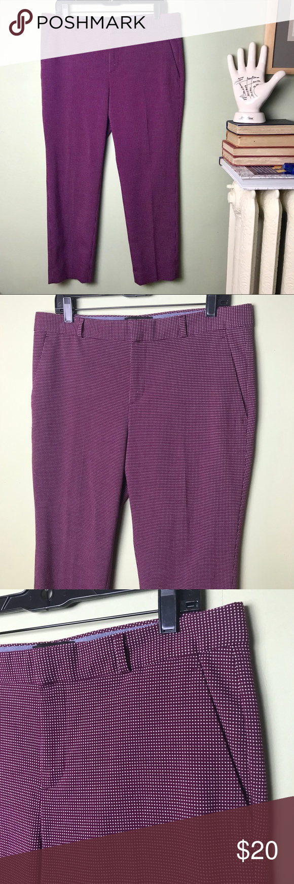 Banana Republic Avery Cropped Pants Deep Burgandy Excellent previously owned con...
