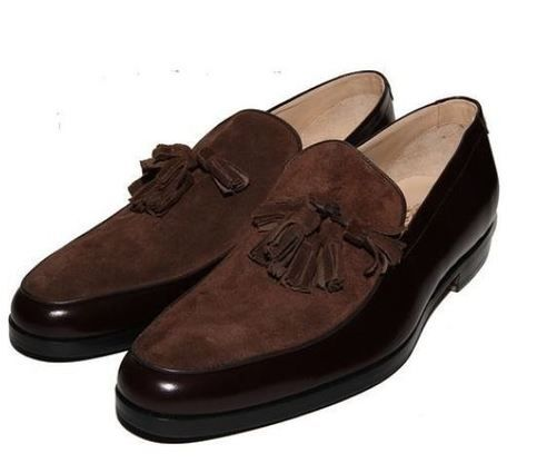 New Handmade leather Suede Fashion Shoes, men's loafer slip on Brown Tussles shoes