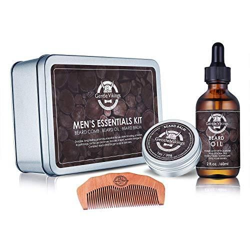 Gentle Vikings Beard Growth Grooming Kit, Beard Oil Balm/Butter/Wax Trimming Comb Kit, Gift Set for Beard Styling & Shaping, Gift Idea for Men, Husband, Faster and Him