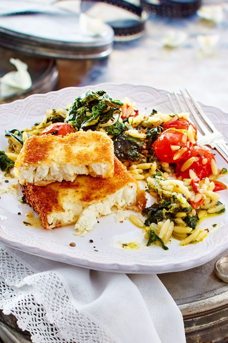 Baked feta with spinach and tomato noodles