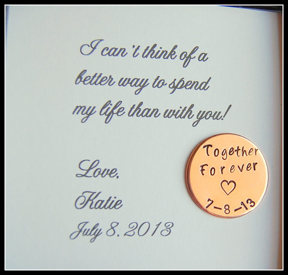 Groom Gift from Bride, Love Notes Coin, Together Forever, Personalized gift for groom on wedding day, Bride to GROOM gift
