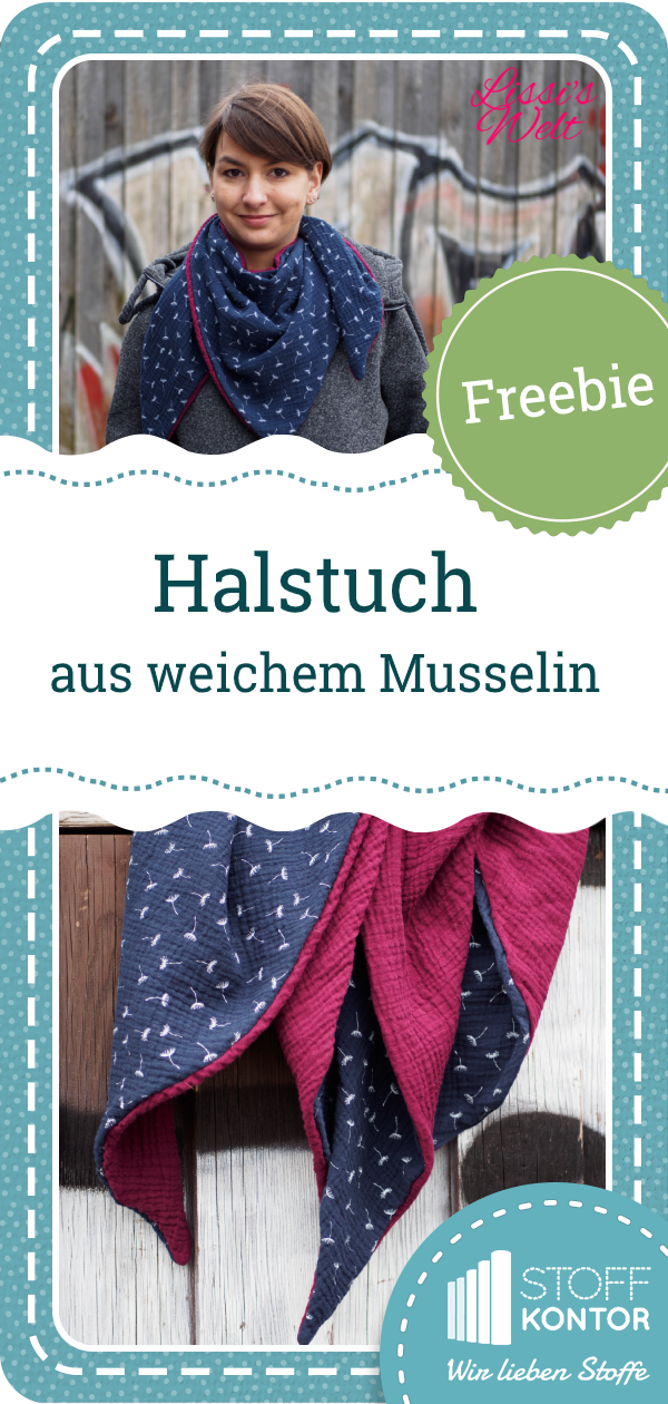Free pattern for a muslin triangle scarf for kids and adults - Freebie