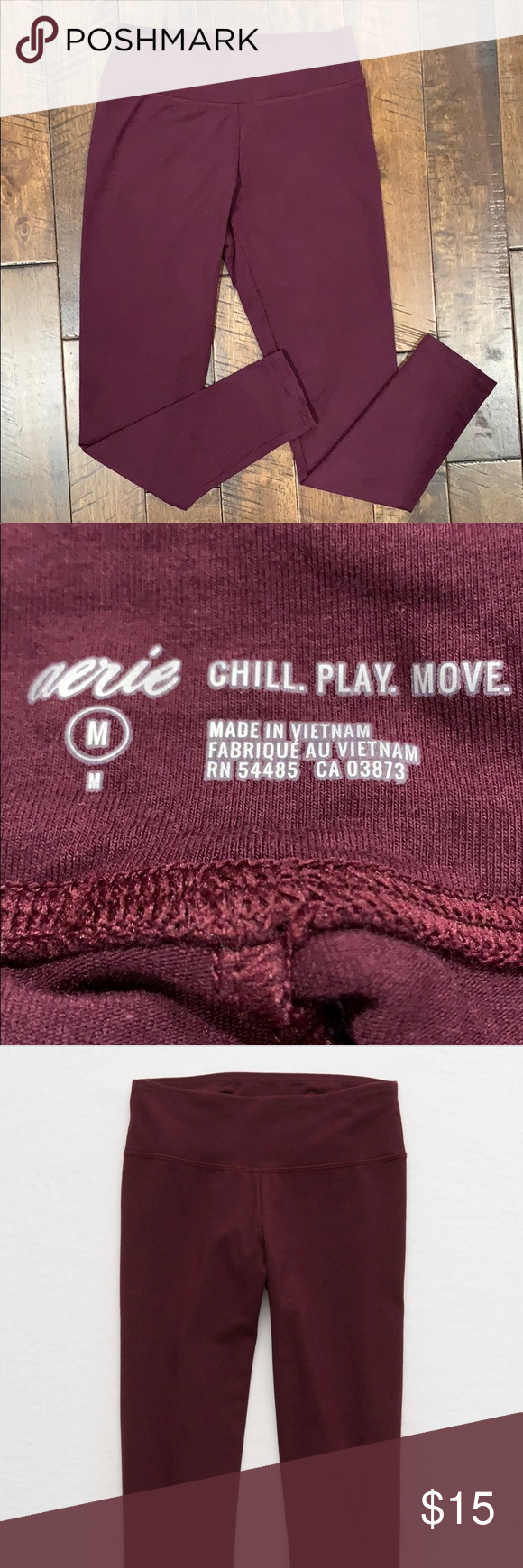 Aerie Leggings Size Medium Aerie Burgandy Chill Play Move Leggings  Size Medium ...