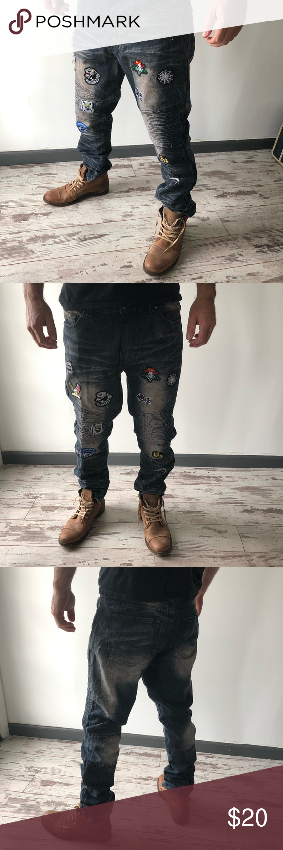 Steve's Jeans Men's distressed jeans with patches Steve's Jeans men's di...