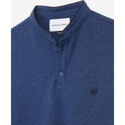 The Kooples - Blue officer collar cotton polo with piping - Damenthekooples.com