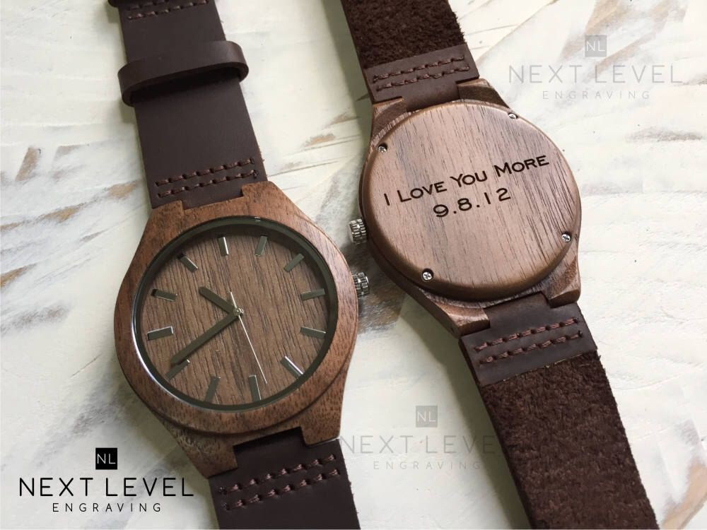 Engraved Wood Watch, 1 Year Anniversary Gift for Boyfriend Gift Mens Custom Personalized Gift for Him Boyfriend Christmas Gift Mens Watch
