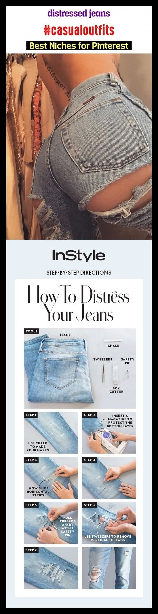 Distressed jeans #casualoutfits #seo #blog #niches #trending. skinny jeans, jean...