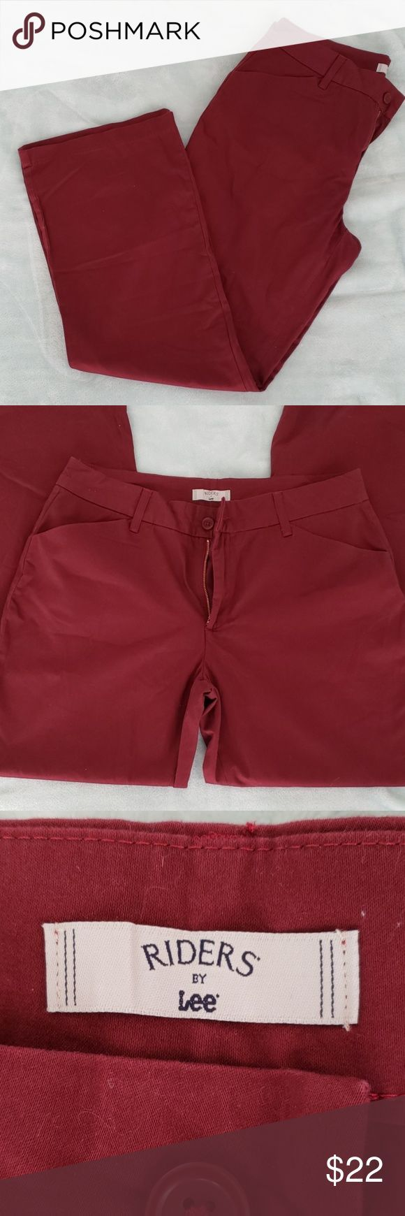 RIDERS BY LEE RED/ BURGANDY PANTS!! Super cute red/Burgandy Rider by Lee's p#fas...