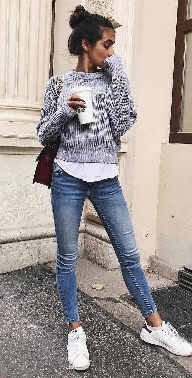 Gray sweater White top skinny jeans White tennies Burgundy shoulder bag - sale